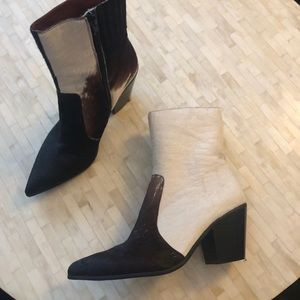 Jeffrey Campbell brown and white cowhide booties